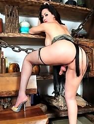 Busty Rabeche posing her big juicy stiff dick