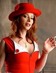 Jasmine smoking & posing in a sexy vintage dress