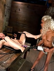 Ts Beauty punishes a bound, blindfolded guy fulfilling his fantasy but playing by her rules. Hardcore fucking by her dick and a machine, plus worship.