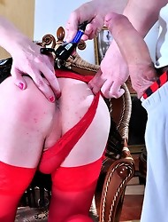 Sissified guy clad in a killer outfit lets a chap drill his tight asshole