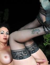 Brunette cutie Rabeche stripping outdoors