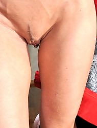 Red-stockinged pussy-guy opens up his rear for a bossy strapon-armed bitch