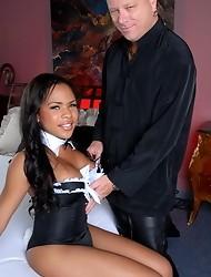 Chocolate hottie Nadia riding Tom's rock hard cock