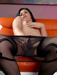 Transsexual Gaby posing in hot pantyhose