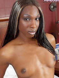 Aries returns to Black-TGirls for another amazing solo scene!