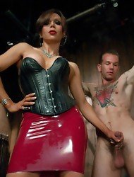 Sultry Latina Transsexual with amazing curves & beautiful cock fucks a bound up slave who has never had cock in his ass. She cums a thick load in
