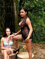 Beautiful TS Mia Misabella posing in the woods with Carmen