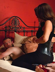 New Dom TS Sofia Sanders rocks his asshole with her solid, thick cock.She fucks like an acrobat, cums like a champ, and leaves her man milked & sp