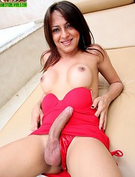 Small Brazilian tranny with a very, very long cock!