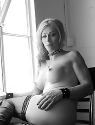 Tempting Jasmine Jewels posing in black and white