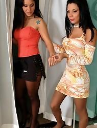 Sasha&Monica attractive shemale and a girl