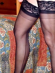 Great collection of cross dressers in black nylons