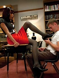 New TS Star rips her big dick free from her pantyhose to fuck a college guy. He kisses her shoes, gets spanked... He cums 3 times she pops on his face