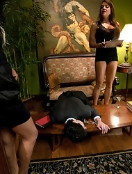 UNBELIEVABLE THREESOME - Transexual babe with 10inch dick, Dom Nika Noire and guy - all anal and pussy fucking, bondage, bjs, facesitting, cum galore.