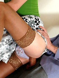 Freaky sissy guy seducing hung policeman into anal amusement on the stairs