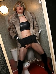 Tgirl slut Zoe hanging out in mens toilets looking for cock