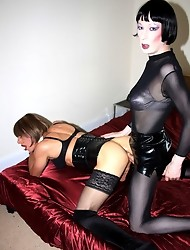 Goth crossdresser fucks Zoe in her tight asshole