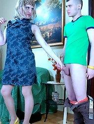 Wearing female clothes a sex-crazy sissy guy ready for gay oral-anal job