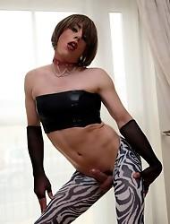Sexy Zoe in zebra print tights and cheeky bra