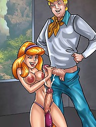 Scooby-Doo team getting dirty in shemale porn